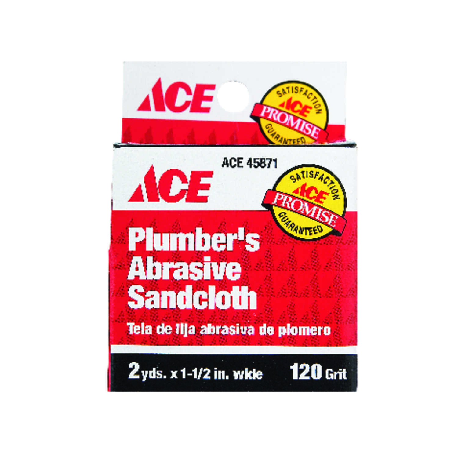 Ace  2 yd. L x 1-1/2 in. W Coarse  Aluminum Oxide  12 pk Sanding Cloth  120 Grit