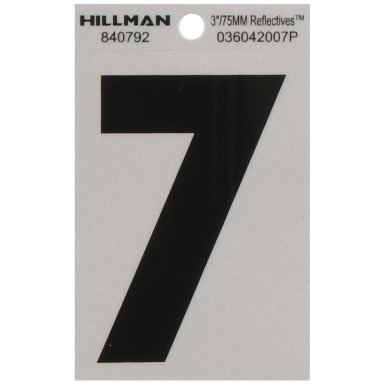 Hillman  3 in. Reflective Black  Mylar  Self-Adhesive  Number  7  1 pc.