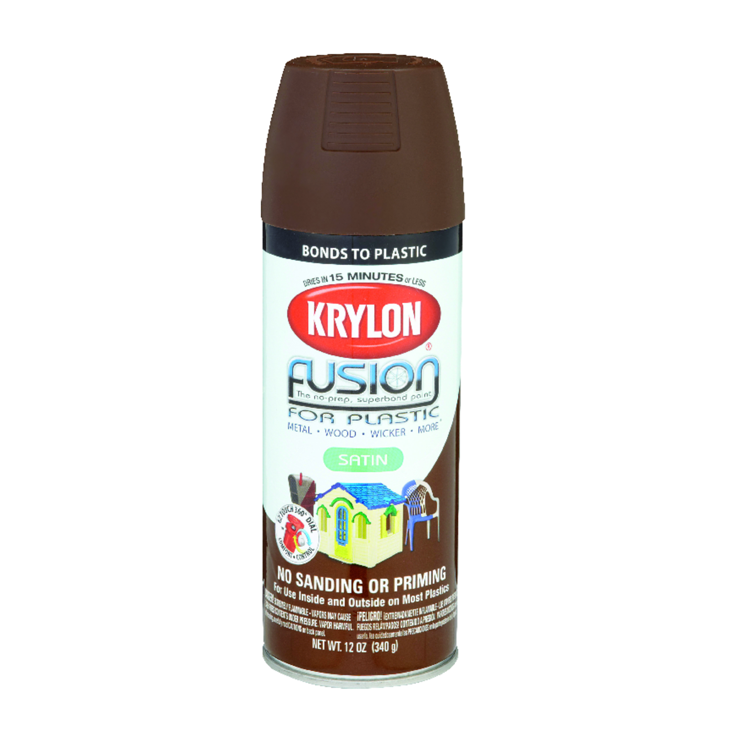 Krylon  Satin  Fusion Spray Paint  12 oz. Espresso