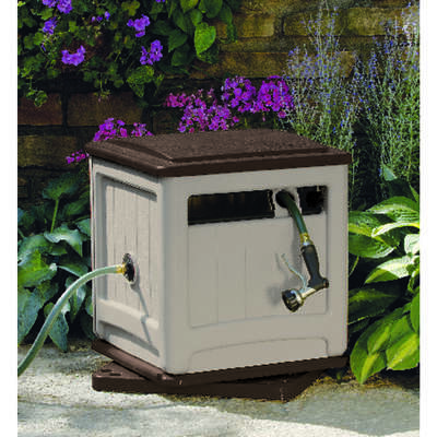 Suncast  Smart Trak  225 ft. Stationary  Hideaway  Beige  Hose Cabinet