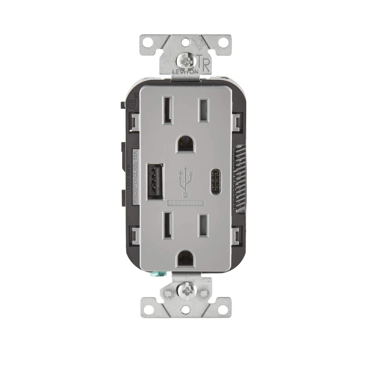 Leviton Decora 15 amps 125 volt Gray Outlet and USB Charger 5-15R 1 ...