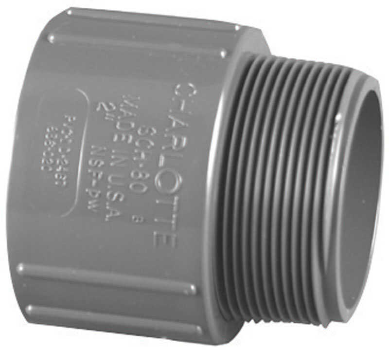 Charlotte Pipe  Schedule 80  2 in. Slip   x 2 in. Dia. MPT  PVC  Pipe Adapter
