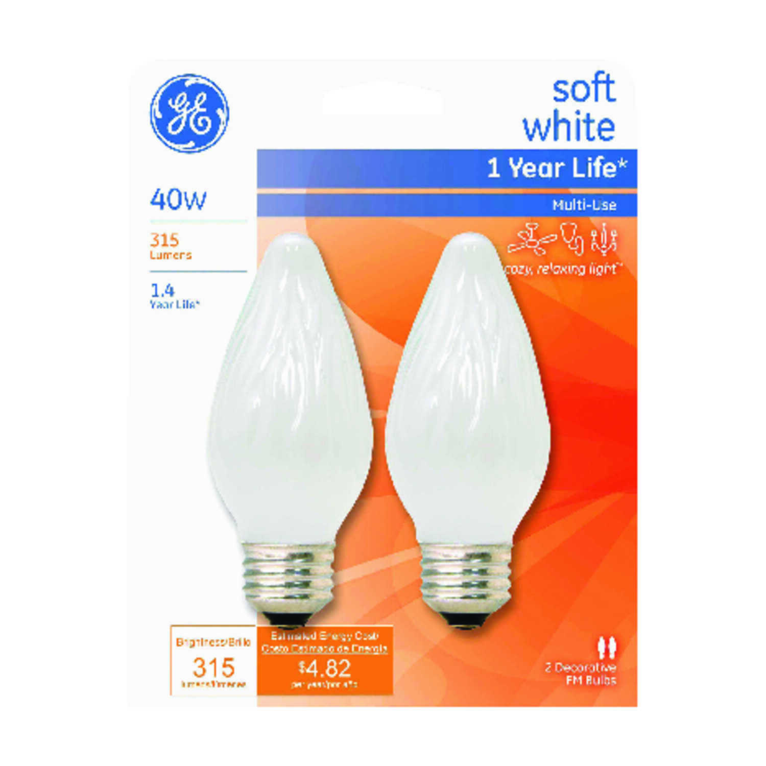 GE  40 watts F15  Incandescent Bulb  315 lumens Soft White  Decorative  2 pk