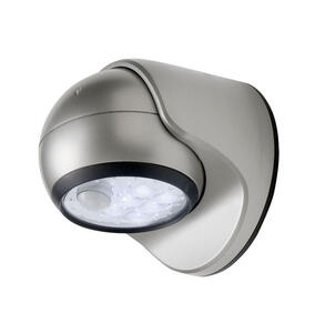 Fulcrum  LIGHT IT  Motion-Sensing  Battery Powered  Silver  Porch Light