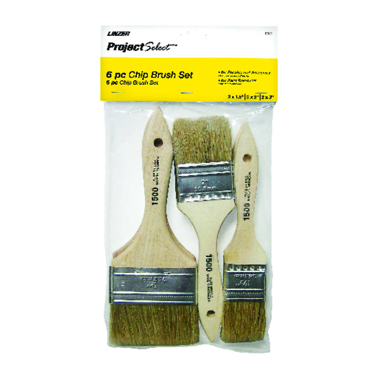 Linzer  Project Select  1-1/2, 2, and 3 in. W Flat  White China Bristle  Chip Brush
