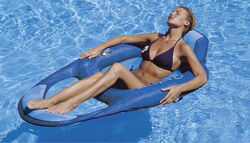 Swimways Blue Fabric/Mesh Inflatable Mattress Floating Pool Mat