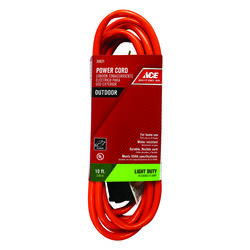 Ace  Indoor or Outdoor  10 ft. L Orange  Extension Cord  16/2 SJTW