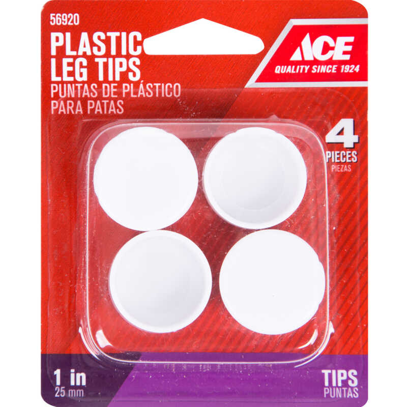 Ace  Plastic  Leg Tip  White  Round  1 in. W 4 pk