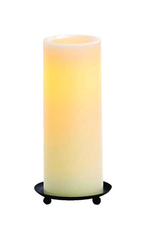Inglow  Vanilla Scent Butter Cream  Pillar  Candle  8 in. H