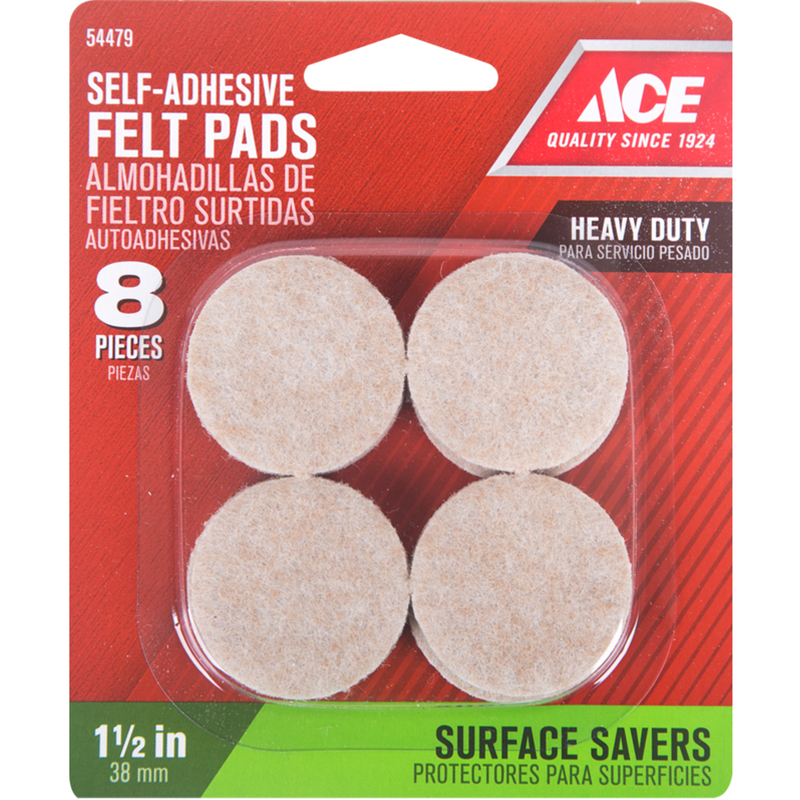 Ace  Felt  Self Adhesive Pad  Brown  Round  1-1/2 in. W 8 pk Self Adhesive