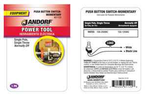 Jandorf  15 amps Single Pole  Push Button  Power Tool Switch  Silver  1 pk