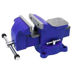 Irwin  4 in. Steel  Workshop Bench Vise  Blue  Swivel Base