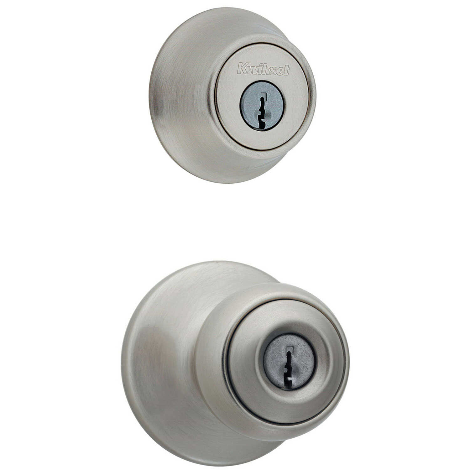 Kwikset  Polo  Satin Nickel  Steel  Entry Lock and Single Cylinder Deadbolt  ANSI/BHMA Grade 3  1-3/