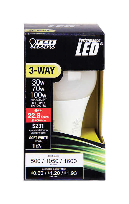 FEIT Electric  5/10/16 watts A30  LED Bulb  500/1050/1600 lumens Soft White  A-Line  30/70/100 Watt