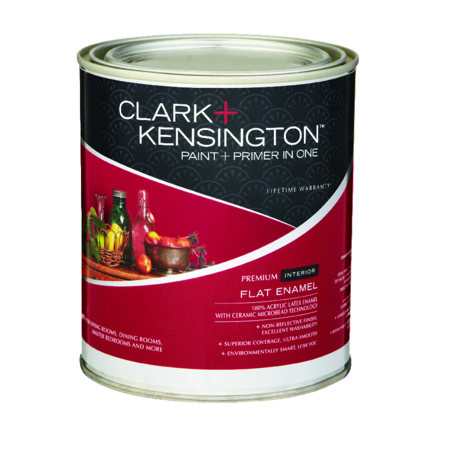 Clark+Kensington  Flat Enamel  Designer White  Acrylic Latex  Paint and Primer  1 qt.