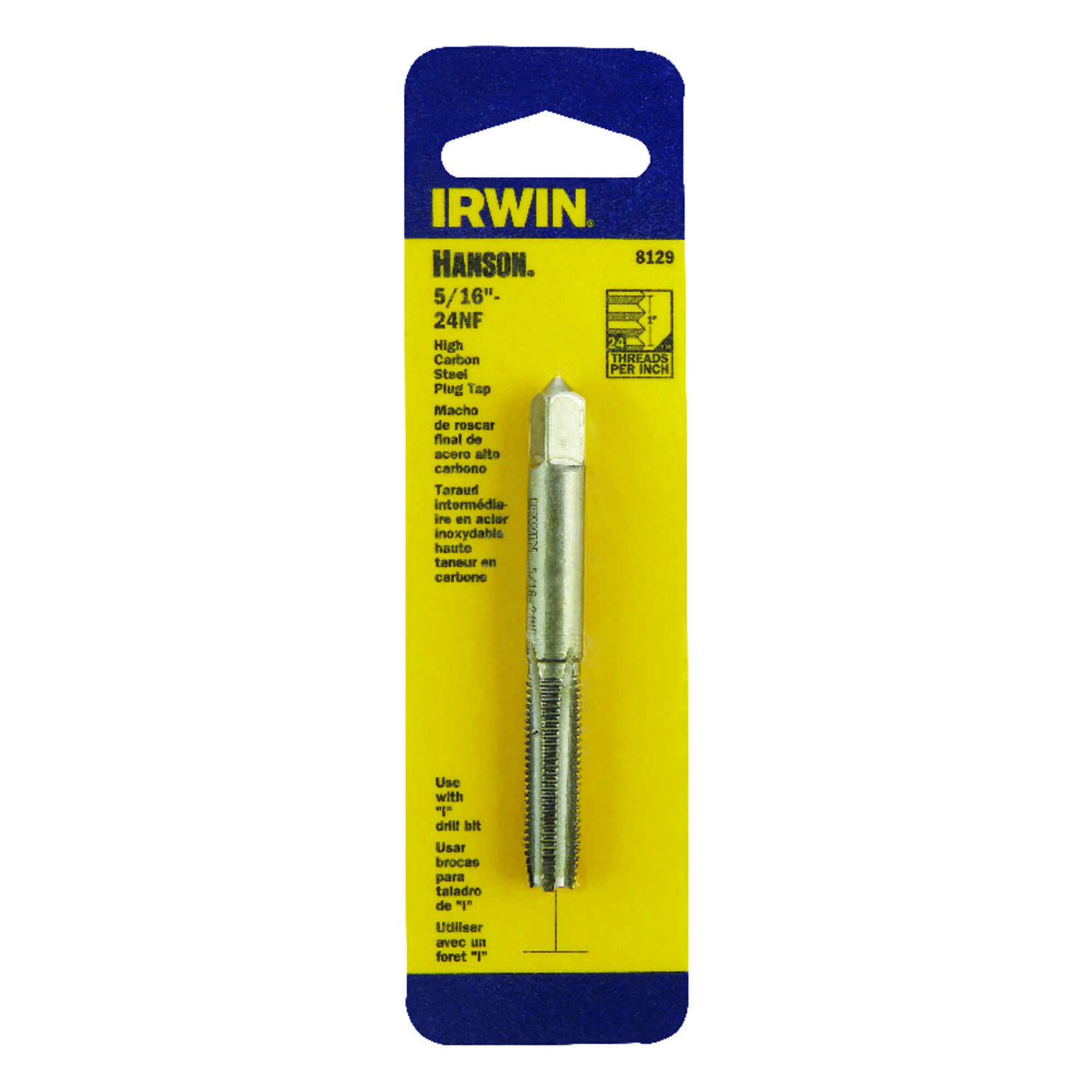 Irwin  Hanson  High Carbon Steel  SAE  Fraction Tap  5/16 in.-24NF  1 pc.
