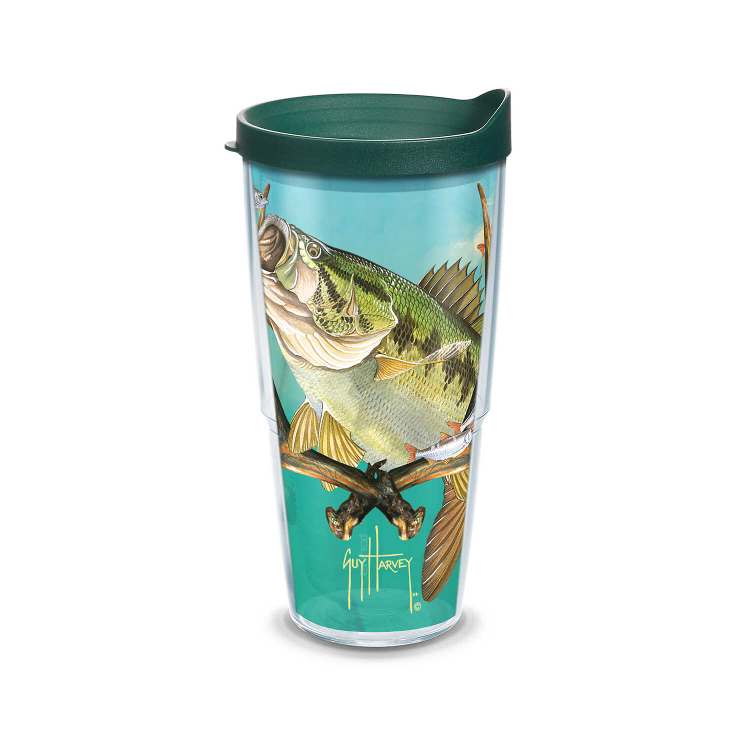 Tervis  Guy Harvey  24 oz. Bass and Antlers  Tumbler  Clear
