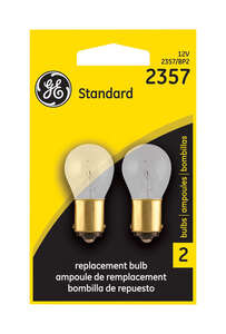 GE Miniature Lamps 2357BP For Stop, Tail and Parking 12 volts 2 Carded
