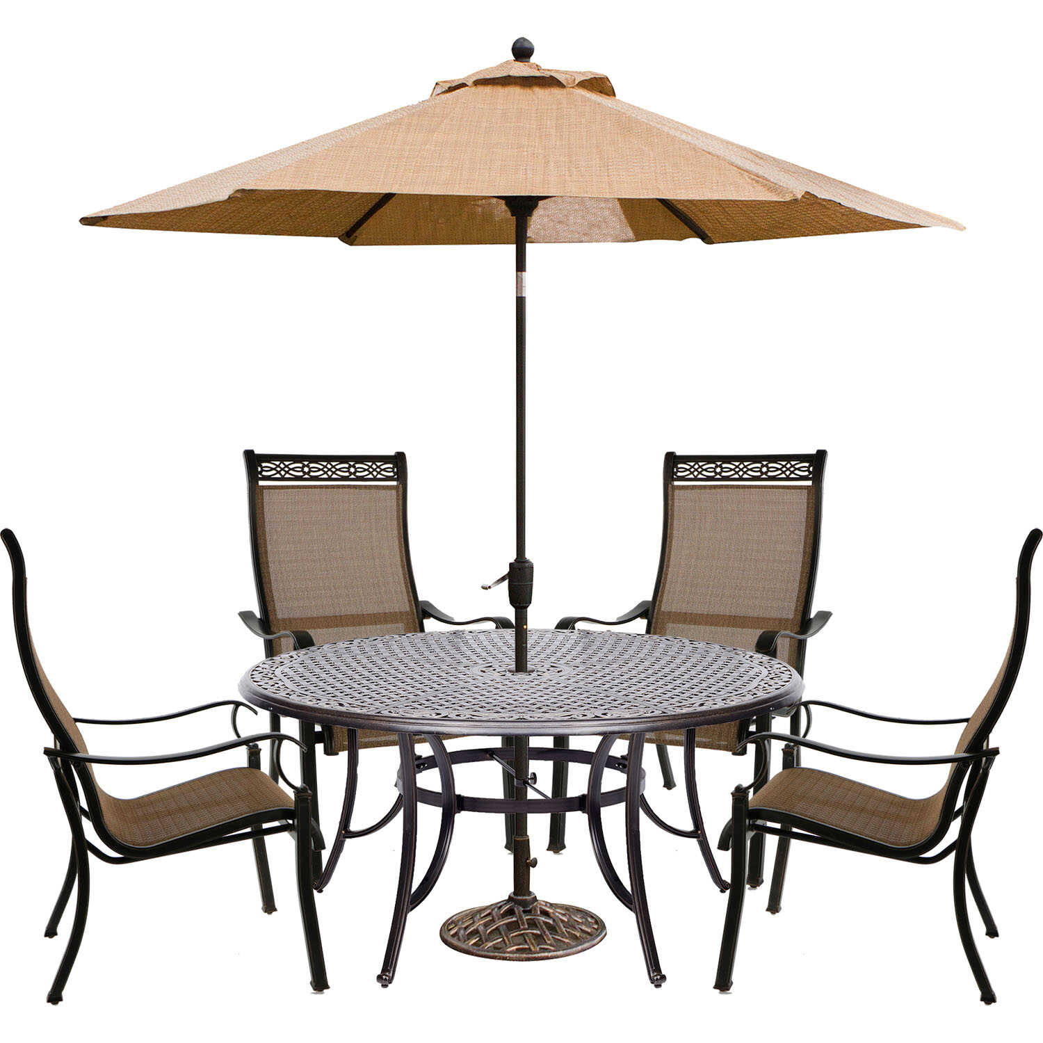 Hanover  6 pc. Brown  Aluminum  Patio Set  Cedar