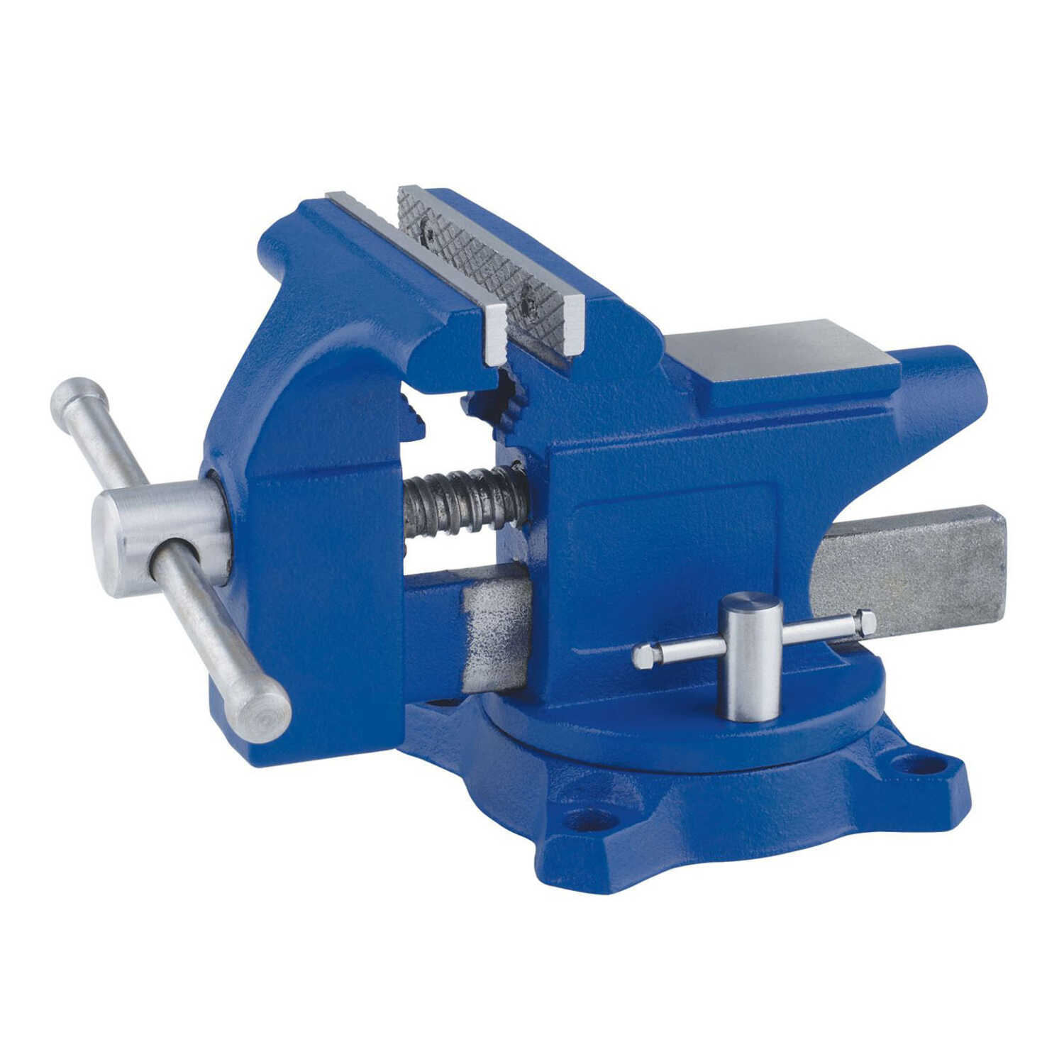 Irwin  4.5 in. Steel  Workshop Bench Vise  Blue  Swivel Base
