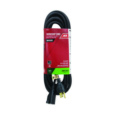 Ace  Indoor  25 ft. L Black  Extension Cord  16/3 SJO