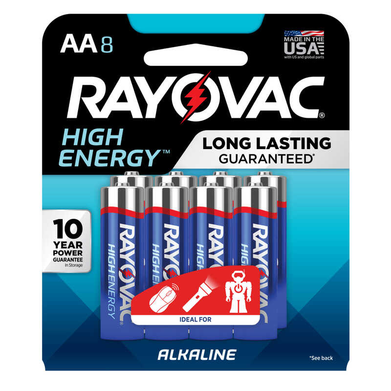 Rayovac  AA  Alkaline  Batteries  1.5 volts 8 pk Carded