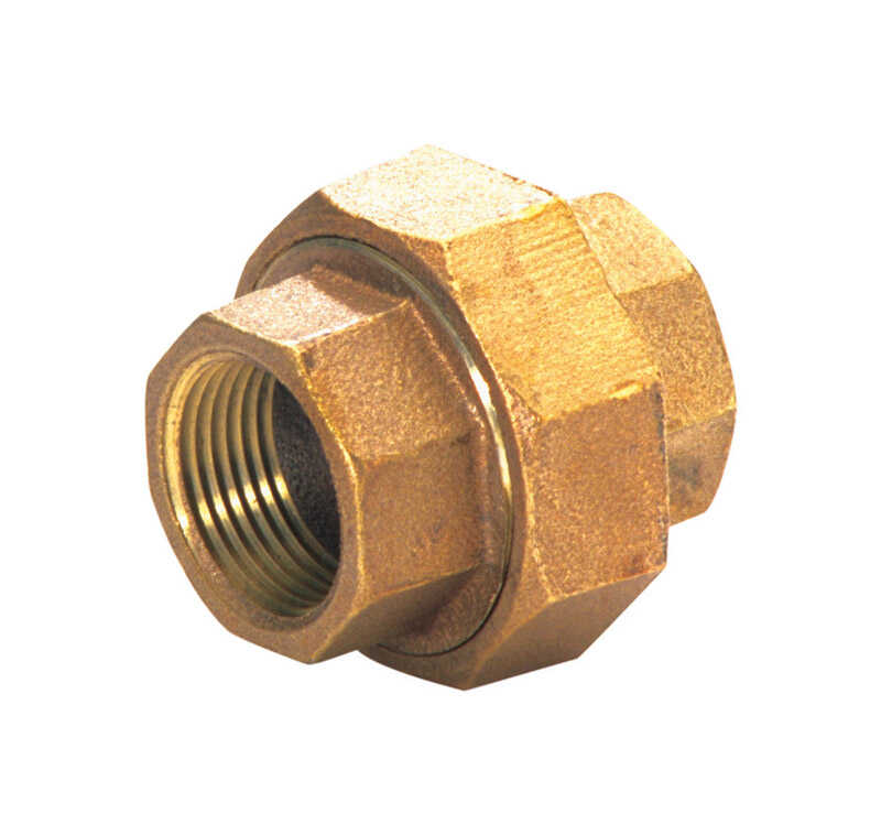 JMF  1-1/4 in. Dia. x 1-1/4 in. Dia. FPT To FPT  Red Brass  Union
