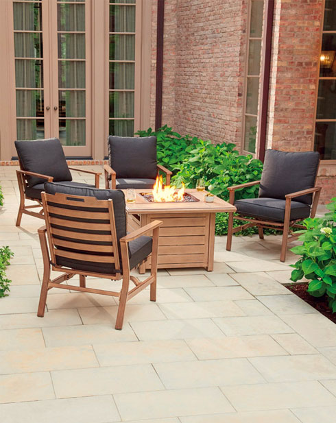 peninsula patio set brown