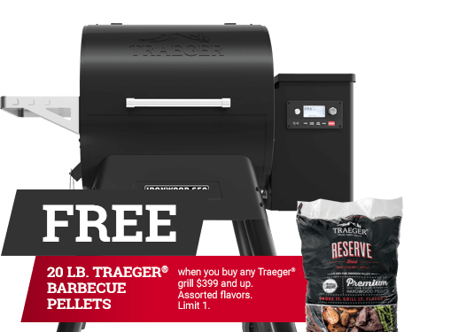 huge selection of 999d1 1fc9c Free 20lb. Traeger Barbecue Pellets when you buy any Traeger grill  399 and  up.