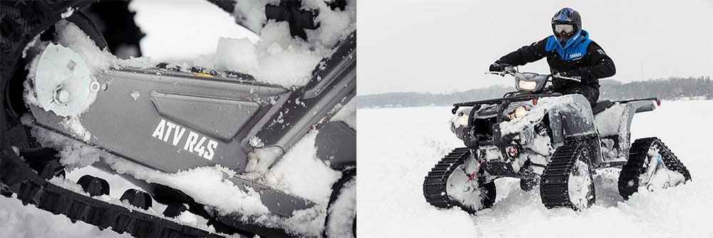 Left image, close up of track kit.  Right image man riding ATV with track kit.