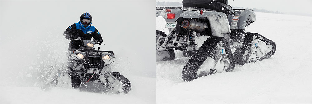 Two images of ATV with track kit on snow days.