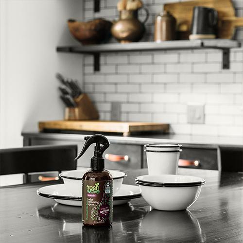 Fresh Wave Odor Removing Lavender Spray, 8 oz. Sitting on Kitchen Counter Top